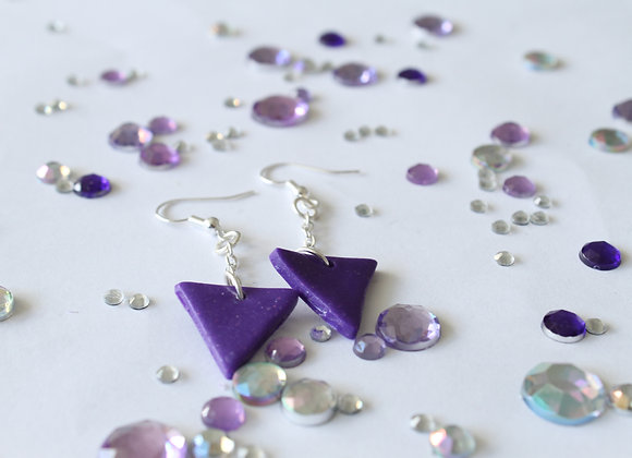 Simple Triangle Sparkly Polymer Clay Earrings
