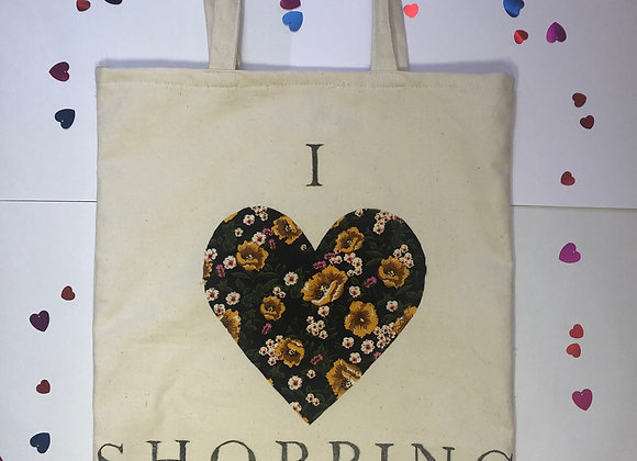 """I love Shopping"" Black Tote Bag"