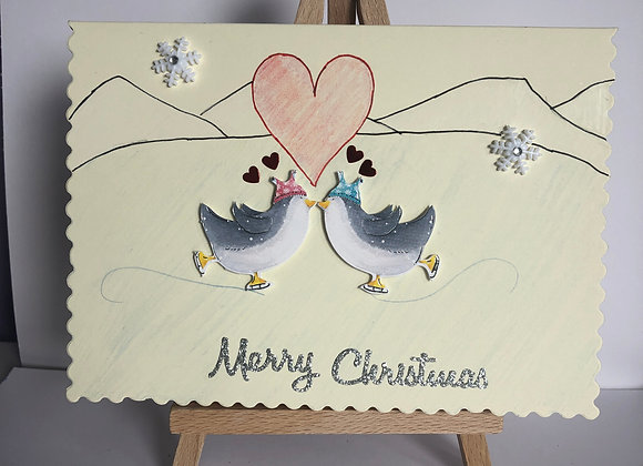 Penguins in Love Christmas Card