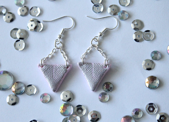Pink Triangle Earrings Embossed Line Print