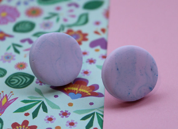 Simple Pink and Blue Stud Earrings with Marbled Effect