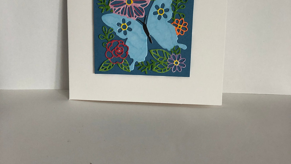 Hand Coloured Butterfly Card with Heat Embossed Happy Birthday