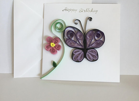 Paper Quilled Butterfly Birthday Card
