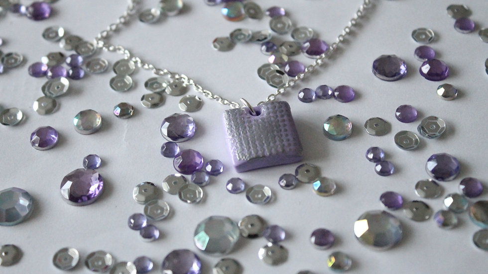 Silver Embossed Spotted Printed Lilac Square Necklace