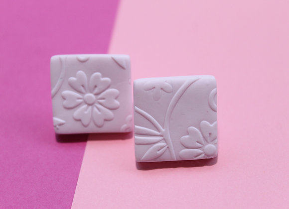 Soft Pink Embossed Square Studs