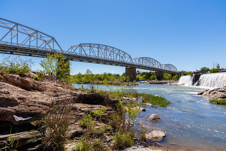 The rustic Highway 71 bridge over the Llano River in the small Texas Hill Country town of