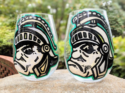 Grumpy MI Spartan Wine Glasses