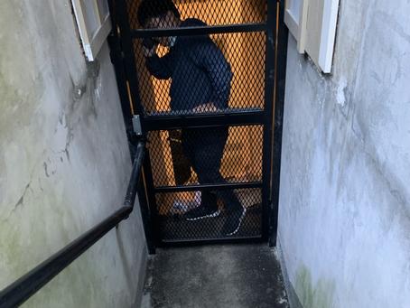 Screen security door with door closet and panic push bar Keep homeless off