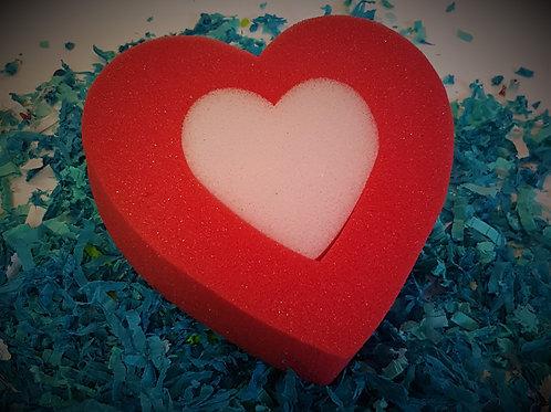 Sponge Bath & Body - Red/Pink Hart