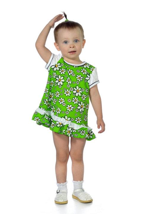 1012п-10 Платье детское (Зелёный/Ромашка)