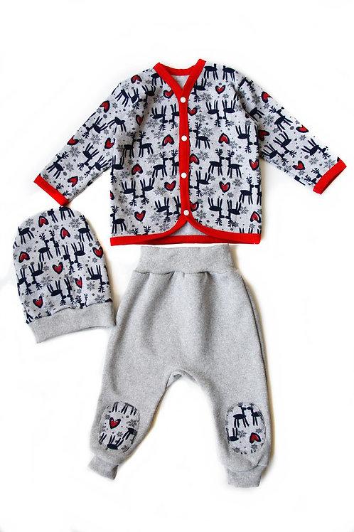 к2029 Комплект детский (Олени серый/серый)