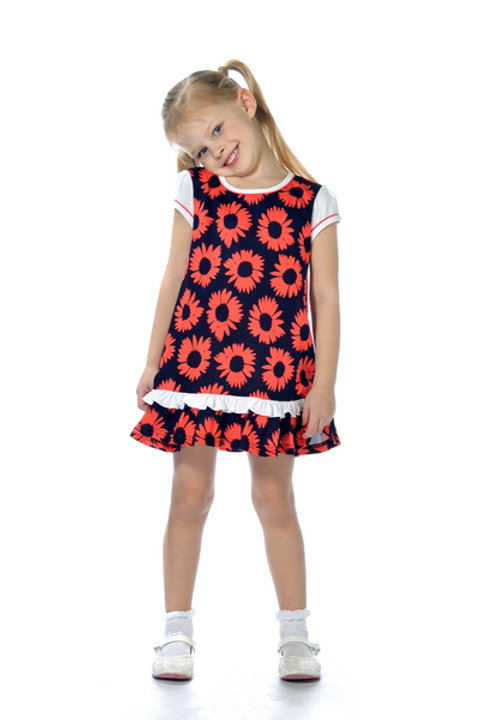 1012п-10 Платье детское (Т.синий/Цветок)