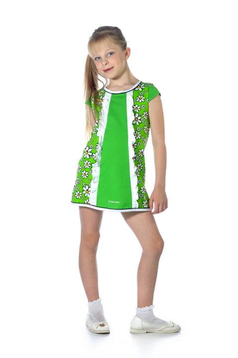 1007п-10 Платье детское (Зелёный/Ромашка)