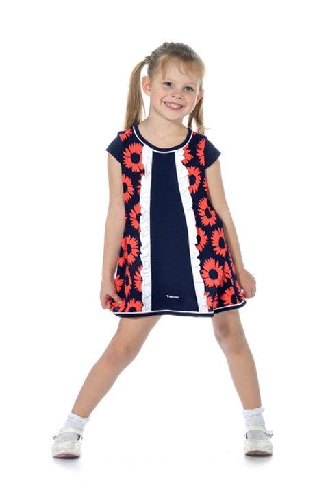 1007п-10 Платье детское (Т.синий/Цветы)