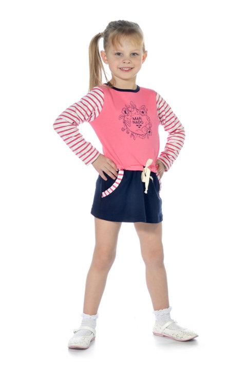 1010п-24 Платье детское (Коралл/Горох)