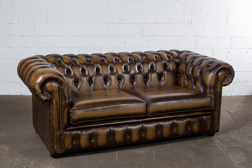 2 5 Seater Antique Gold Leather Chesterfield Sofa