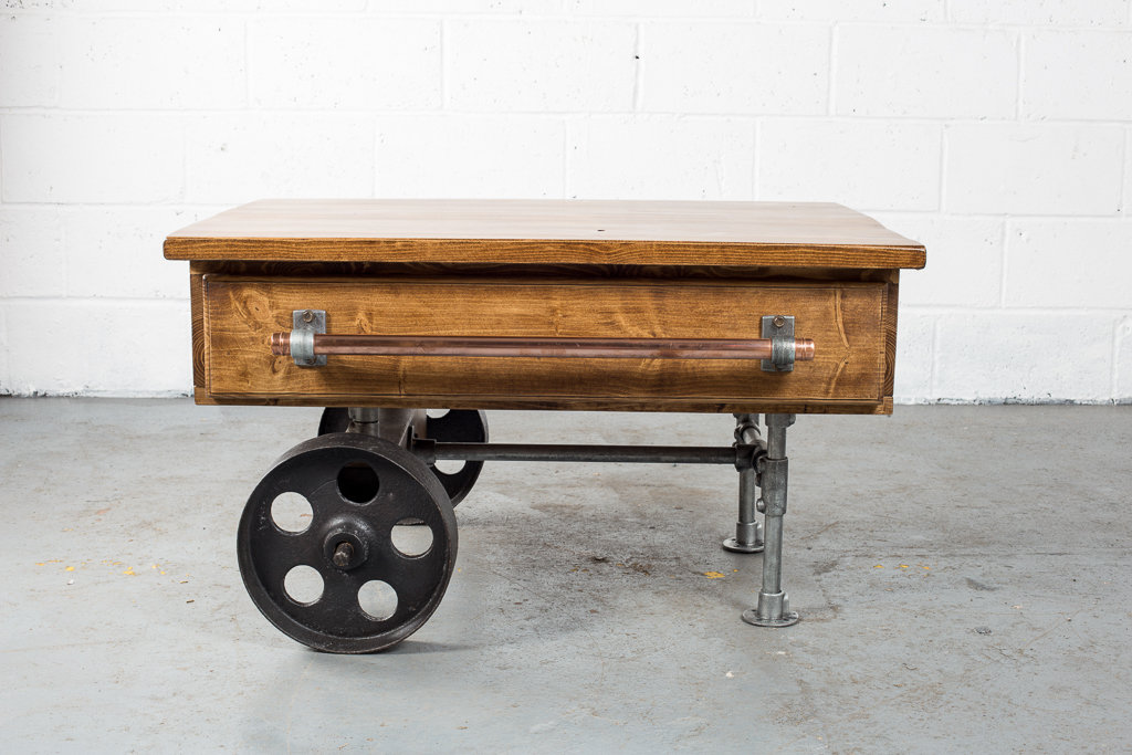 Wooden Coffee Table With Cast Iron Wheels Revivalist V2
