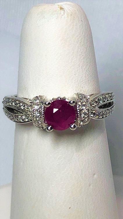White Gold Ruby & Diamond Dinner Ring