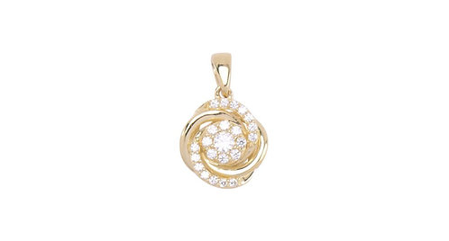 Yellow Gold Rose Bud w CZ Pendant