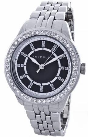 Anne Klein Black Dial Silver Bracelet Watch