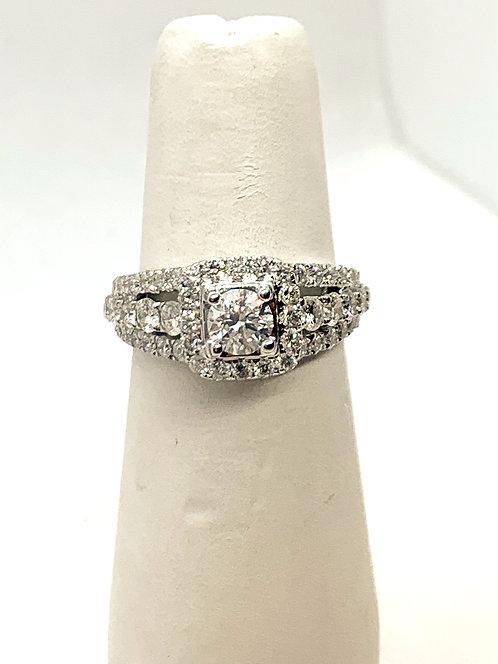 WG RBC Diamond Ring with Diamond Halo