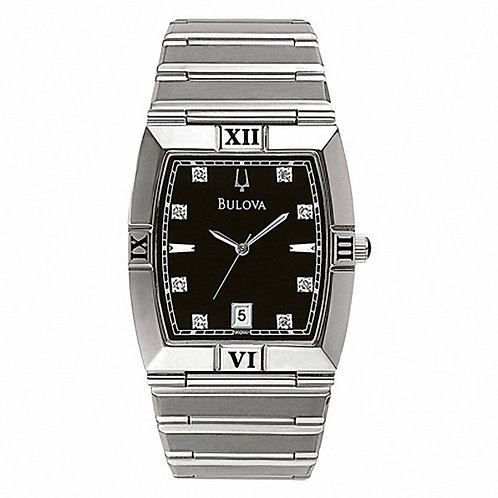 Bulova Men's Diamond Accent Watch with Black Tonneau Dial