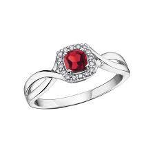 White Gold Garnet & Diamond Halo Ring