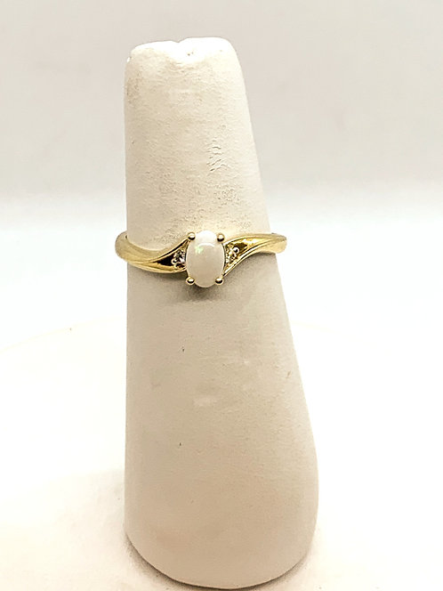 Yellow Gold Opal with Diamond accent Ring