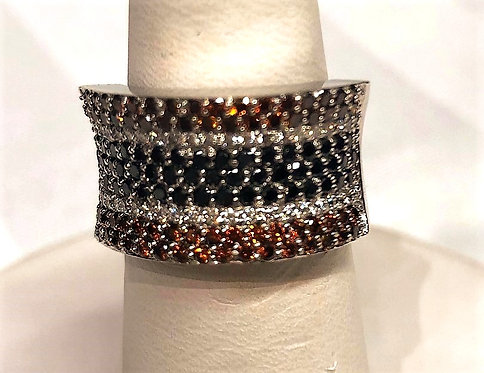 White Gold Multi row Colored Diamonds Band