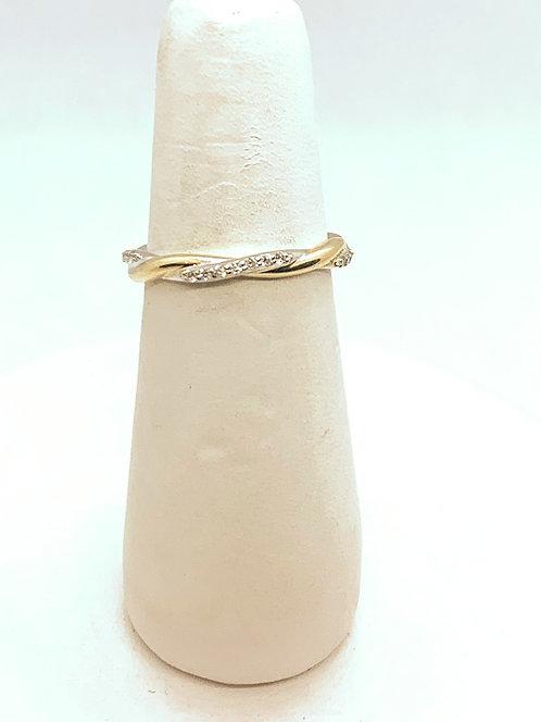 Yellow & White Gold Diamond Twist Ring