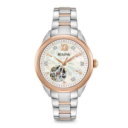 Bulova Women's Two-Tone Automatic Exhibition Back Diamond Dial Watch