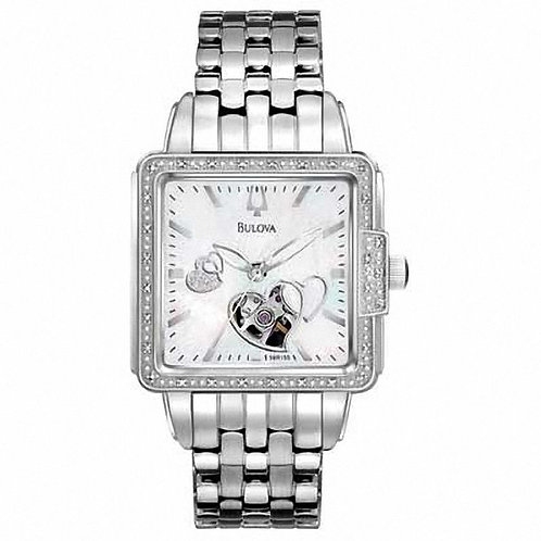 Ladies' Bulova Automatic Watch with Square White Dial