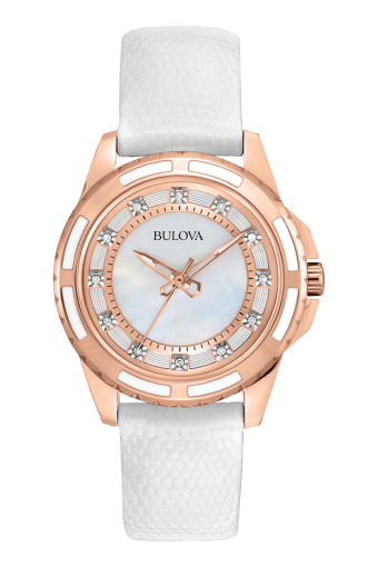 Bulova Ladies Quartz Stainless Steel Watch with Leather Strap