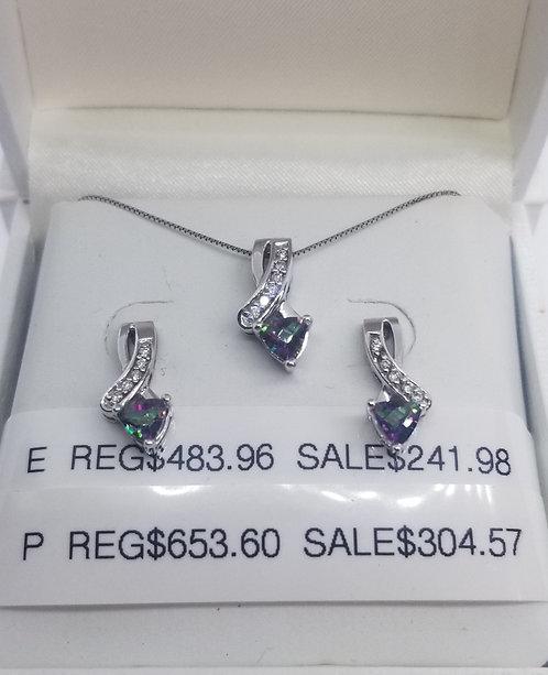 Diamond and Mystic Topaz Pendant
