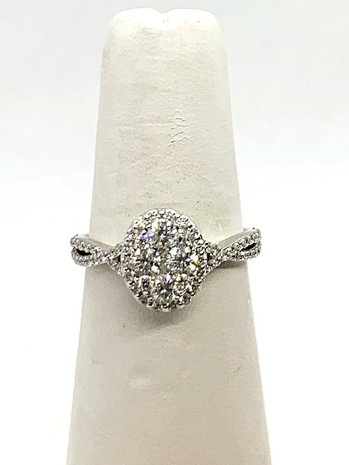 WG Oval cluster mount diamonds with halo Ring