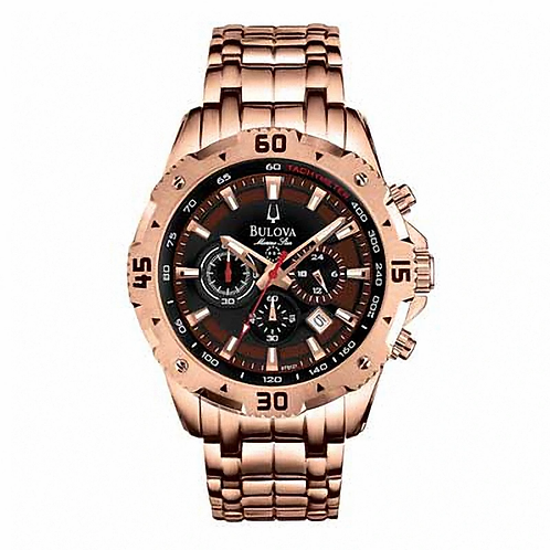 Men's Bulova Marine Star Chronograph Rose-Tone Watch with Brown Dial