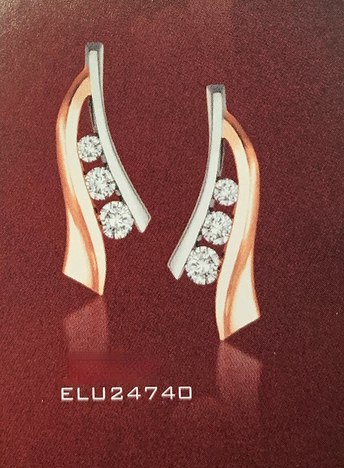 White & Rose Gold 3 stone Diamond Stud Earrings