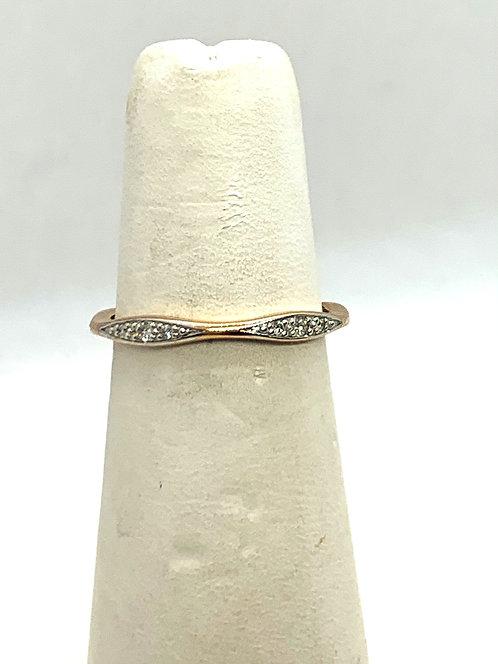 Rose & White Gold Diamond Wave Ring