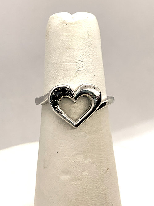 White Gold with Black Diamonds Heart Ring
