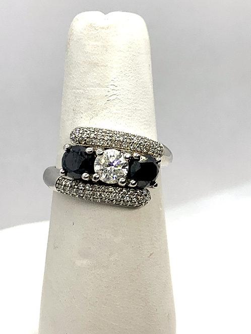 White Gold Black and White Diamond Trio Ring