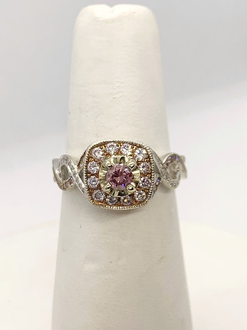 WG  & RG RBC Pink Diamond with accents Ring