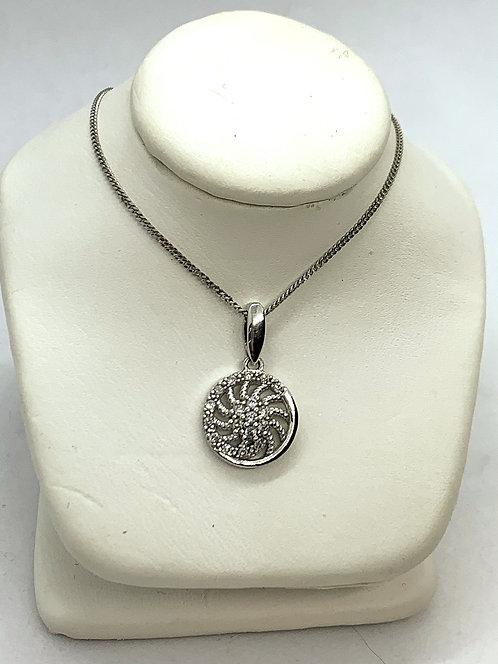 White Gold Diamond Pinwheel Necklace