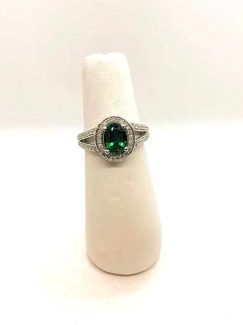 White Gold Emerald & Diamond Halo Ring