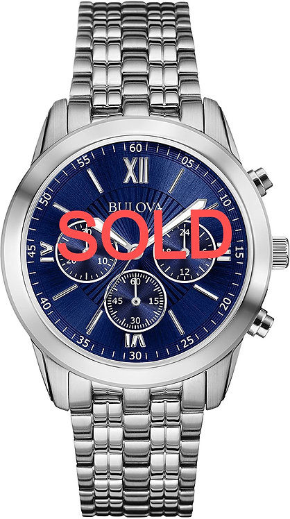 Bulova Mens Stainless Steel Watch with Blue Dial