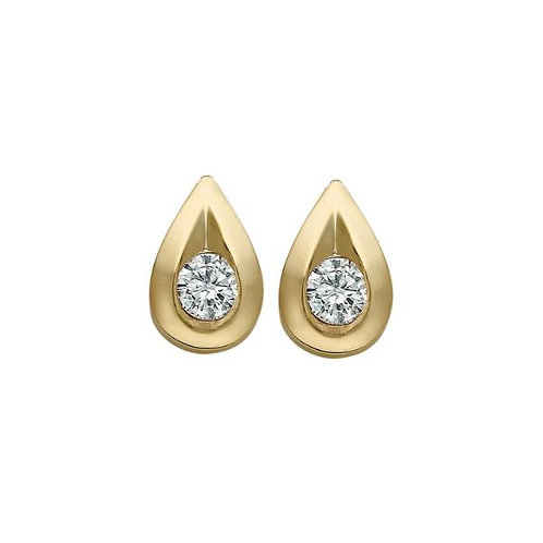 Yellow Gold Diamond Tear Drop Stud Earrings