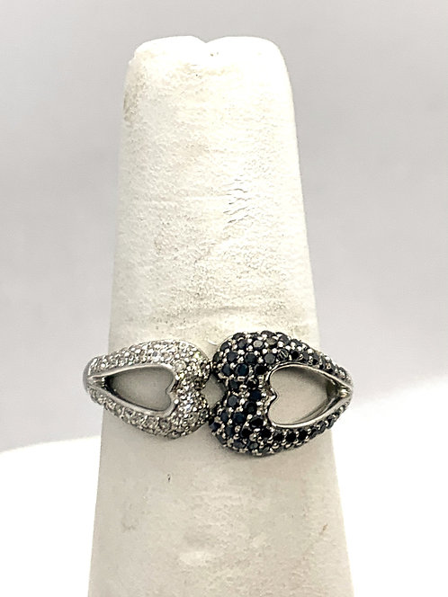 White Gold Double Heart with White & Black Diamonds Ring