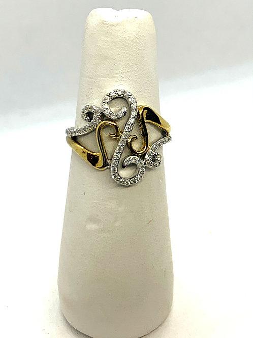 Yellow & White Gold Diamond Twirls Statement Ring
