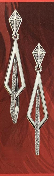 White Gold & Diamond Geometric Shape Earrings