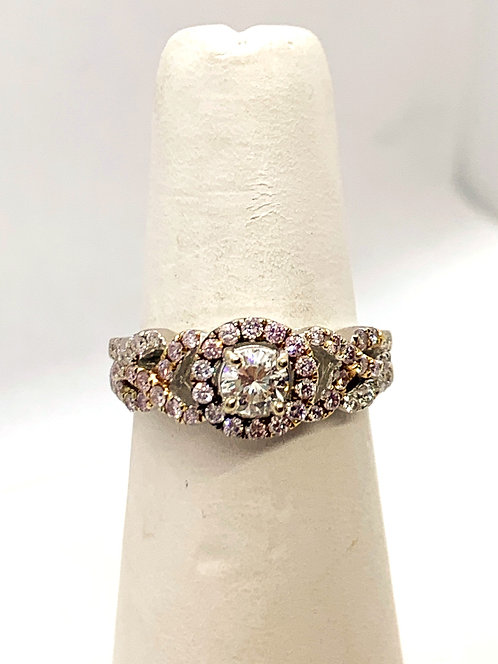 WG Round Brilliant Diamond with Pink Diamond Accent Halo Ring