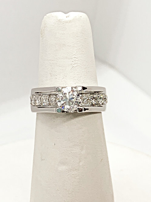 WG Diamond with channel set Band Engagement Ring